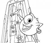 Coloriage Le monstre Bob devant la porte