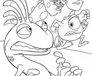 Coloriage Les monstres Bob et léon en course