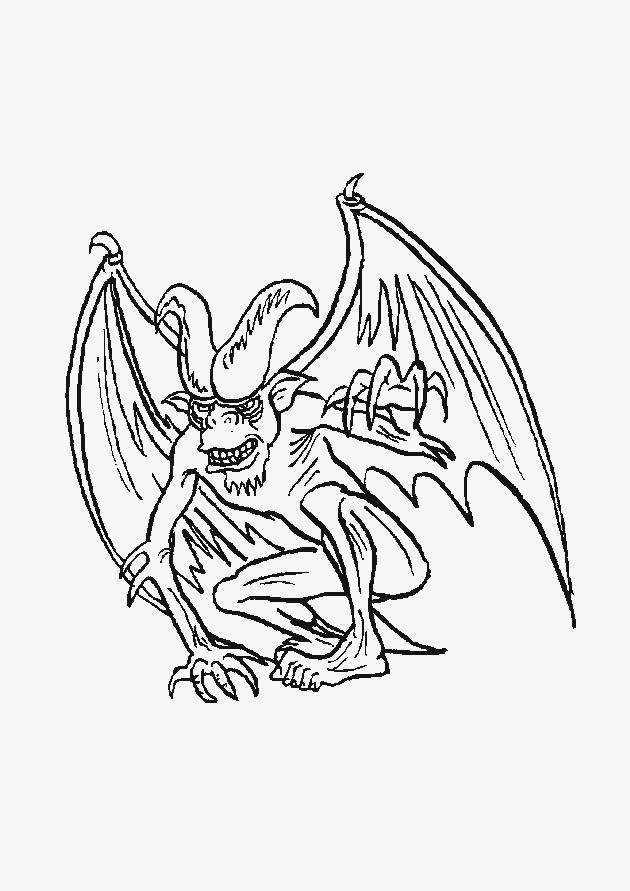 Coloriage monstre avec cornes fait peur dessin gratuit imprimer - Dessin anime qui fait peur ...