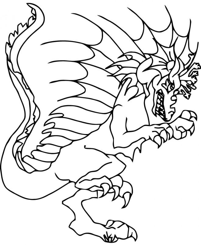 Coloriage et dessins gratuits Monstre Dragon en ligne à imprimer