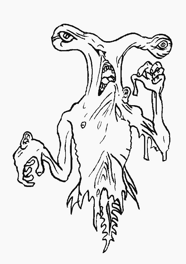 Coloriage monstre effrayant en ligne dessin gratuit imprimer - Dessins de monstres ...