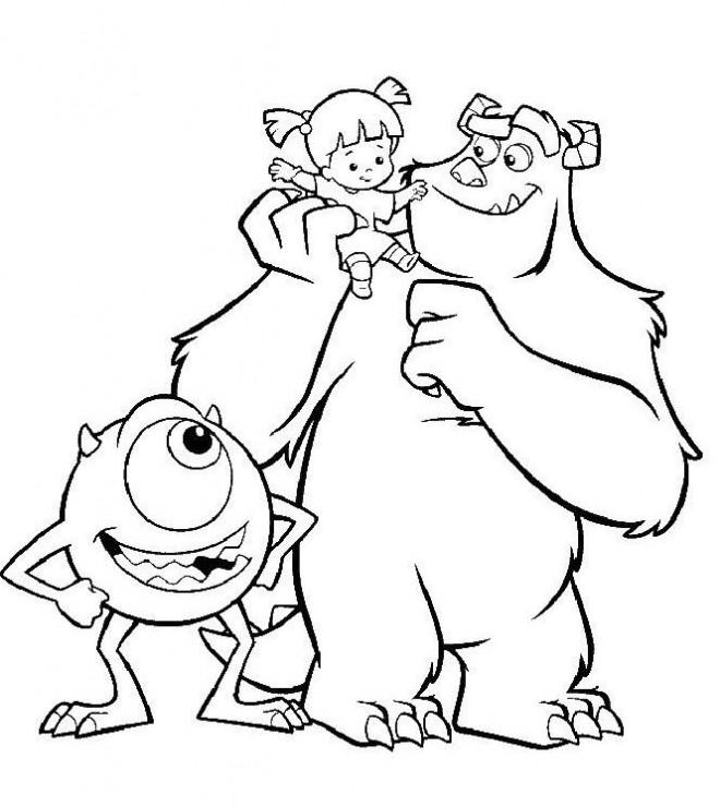 Coloriage et dessins gratuits Monstre et Ci avec une petite fille à imprimer