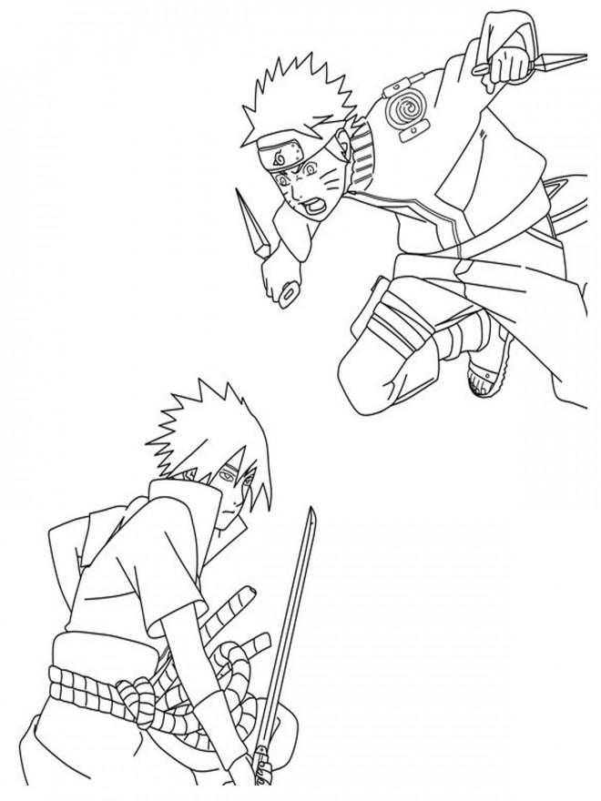 Coloriage Dessin Naruto Vs Sasuke Dessin Gratuit à Imprimer