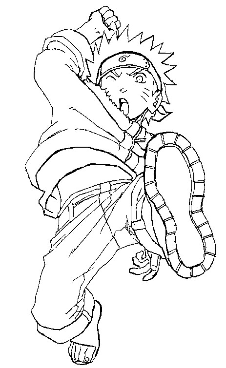 Coloriage et dessins gratuits L'attaque de Naruto Uzumaki à imprimer