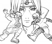 Coloriage et dessins gratuit Naruto contre Sasuke à imprimer