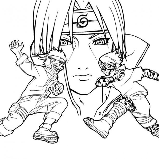 Coloriage naruto contre sasuke dessin gratuit imprimer - Dessin de naruto akkipuden ...