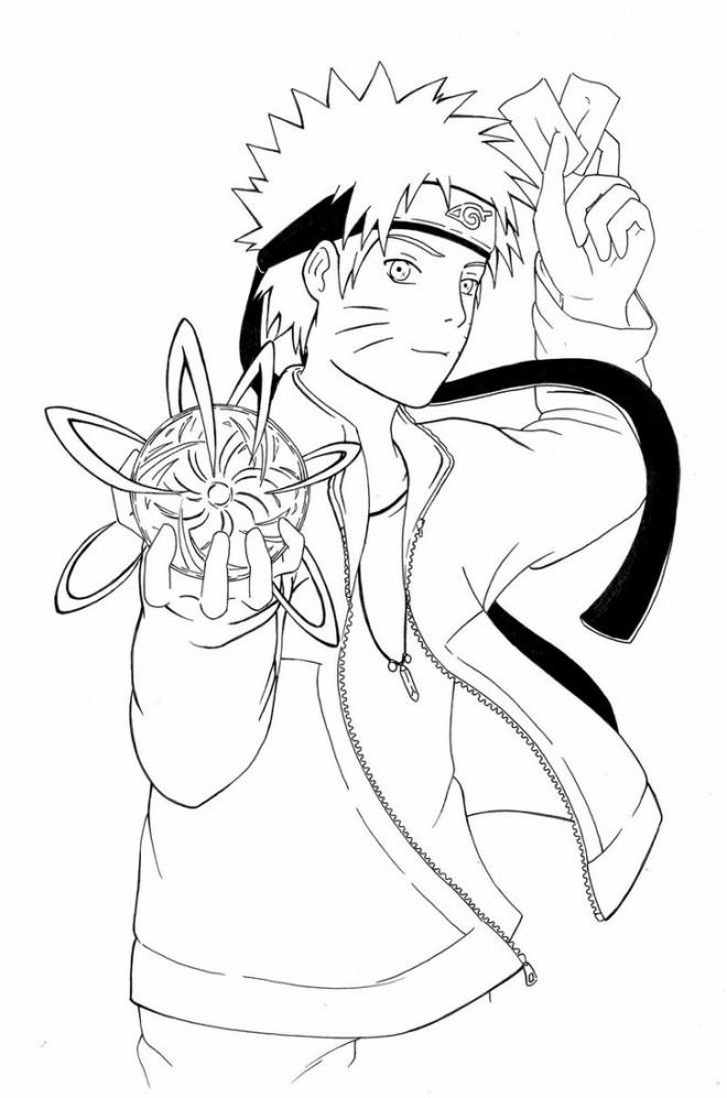 Coloriage et dessins gratuits Naruto et le ballon d'eau à imprimer