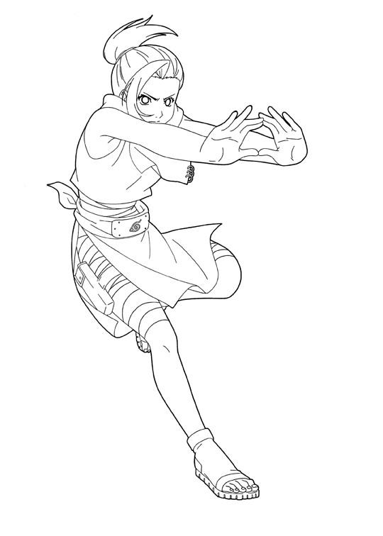 Coloriage et dessins gratuits Naruto Ino Yamanaka attaque à imprimer