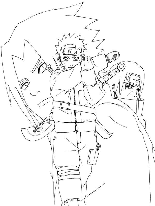 Coloriage et dessins gratuits Naruto Sasuke desssin à imprimer