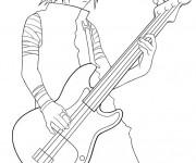 Coloriage Naruto Sasuke joue de la guitare