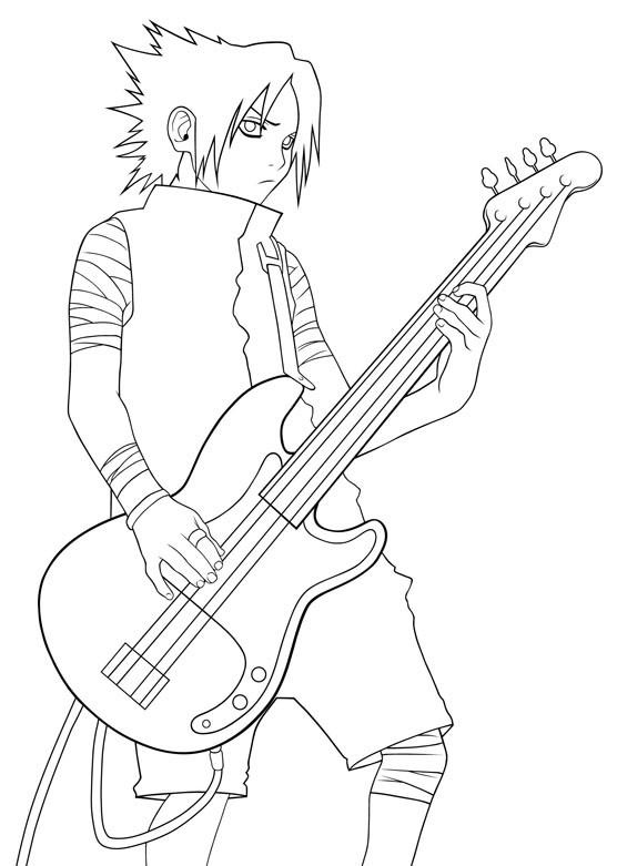 Coloriage et dessins gratuits Naruto Sasuke joue de la guitare à imprimer