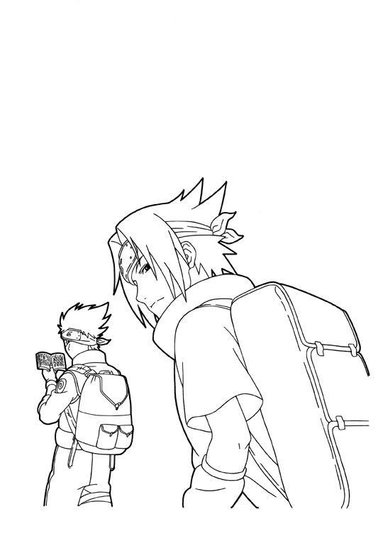 Coloriage Naruto Shippuden Sasuke à Télécharger