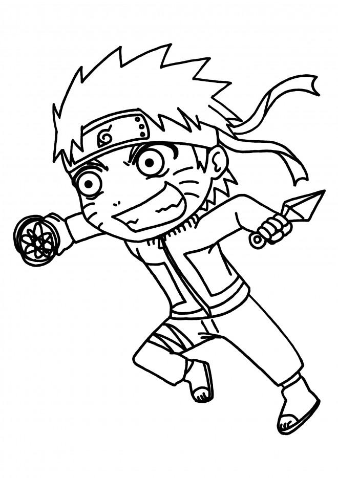 Coloriage et dessins gratuits Naruto Uzumaki drôle à imprimer