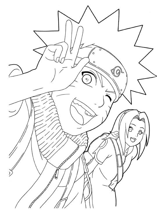 Coloriage Naruto Uzumaki Et Fille En Couleur Dessin Gratuit