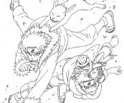 Coloriage et dessins gratuit Naruto Uzumaki et ses animaux à imprimer
