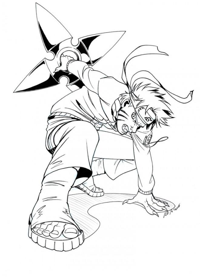 Coloriage et dessins gratuits Naruto Uzumaki porte son arme facile à imprimer