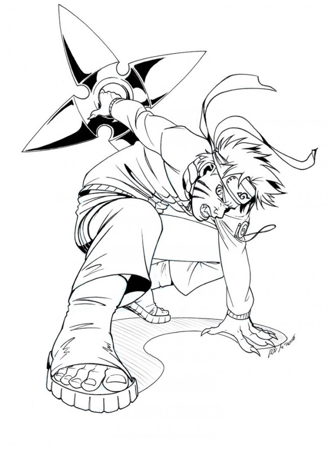 Coloriage Naruto Uzumaki Porte Son Arme Facile Dessin Gratuit A Imprimer
