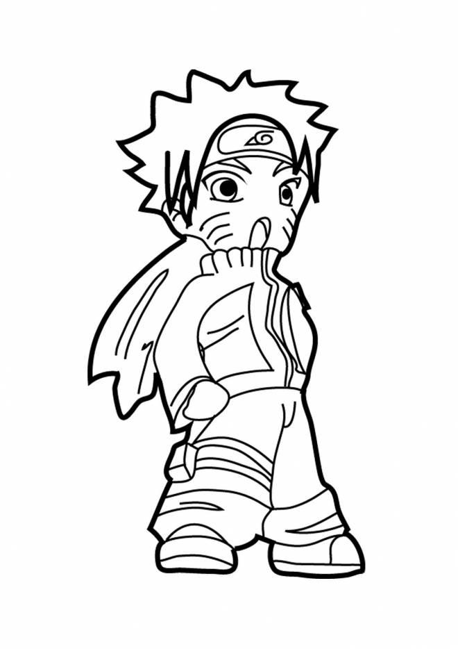 Coloriage et dessins gratuits Naruto Uzumaki prêt au combat à imprimer