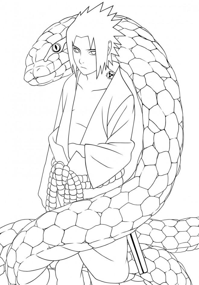 Coloriage et dessins gratuits Sasuke et le serpent à imprimer