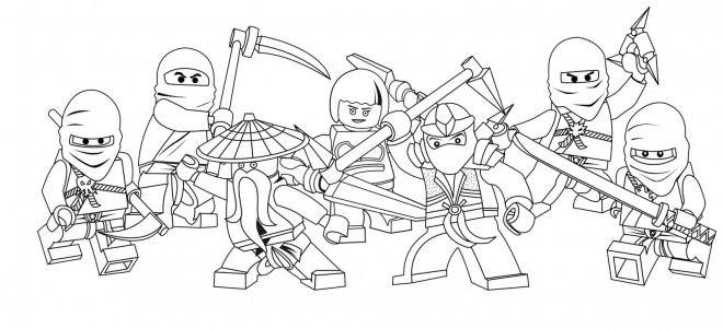 Coloriage et dessins gratuits Dessin Ninjago Les héros à imprimer