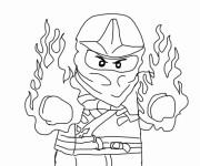 Coloriage et dessins gratuit Ninjago Kai en feu à imprimer