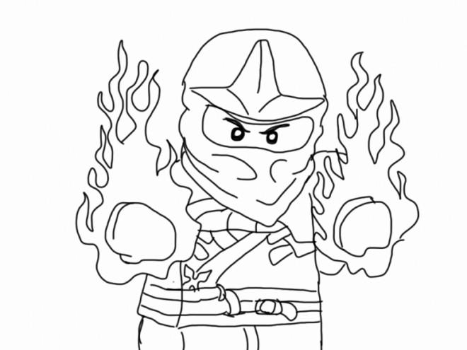 Coloriage et dessins gratuits Ninjago Kai en feu à imprimer