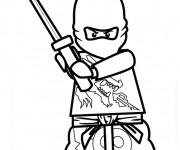 Coloriage Ninjago Zane et son bâton