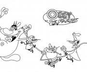 Coloriage dessin Oggy et les cafards