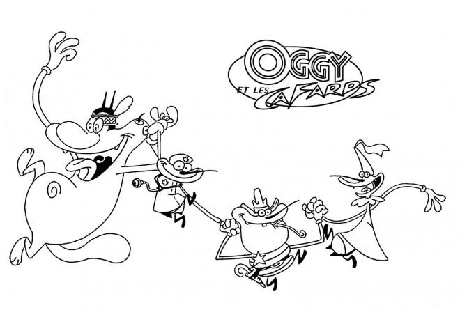 Coloriage et dessins gratuits dessin Oggy et les cafards à imprimer