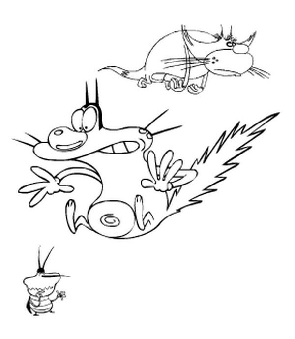 Coloriage et dessins gratuits Oggy choqué humoristique à imprimer