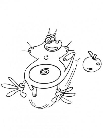 Coloriage et dessins gratuits Oggy et la pomme en ligne à imprimer