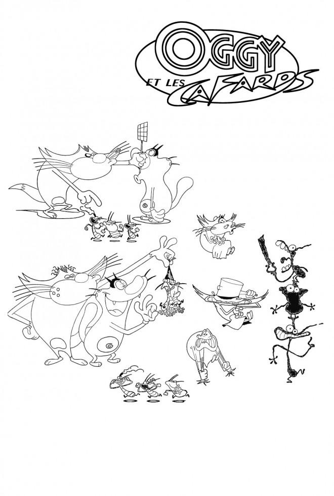Coloriage et dessins gratuits Oggy et les cafards à télécharger à imprimer
