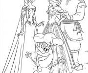 Coloriage et dessins gratuit Elsa reine de neige et Olaf à imprimer