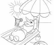 Coloriage et dessins gratuit Olaf à  la plage à imprimer