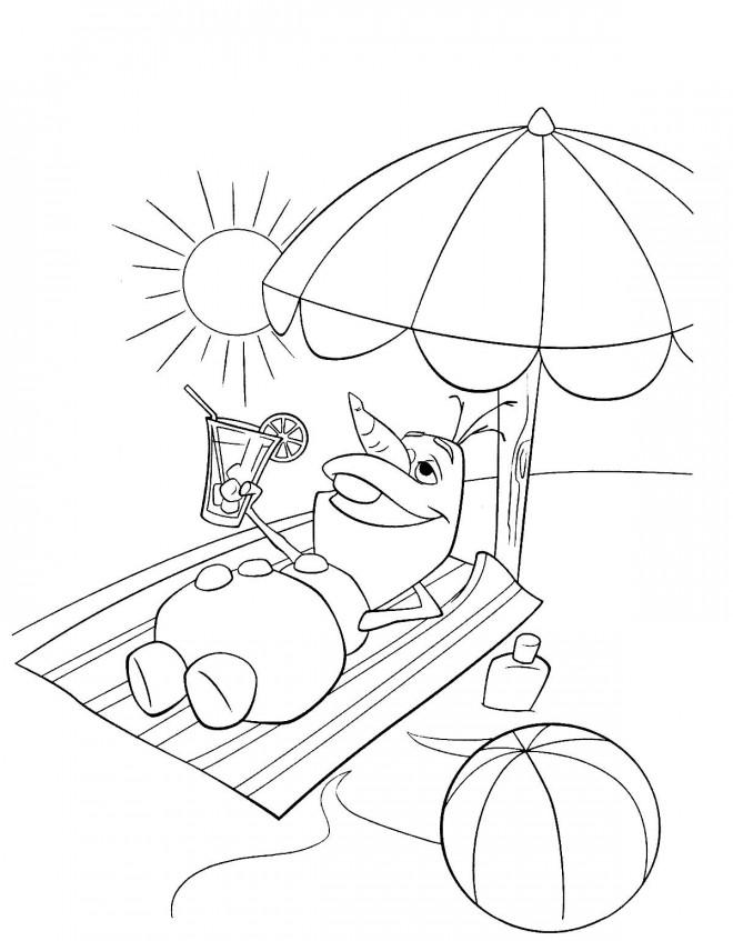 Coloriage Olaf en été dessin gratuit à imprimer