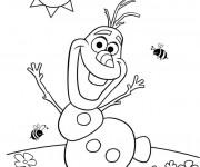 Coloriage et dessins gratuit Olaf entrain de danser à imprimer
