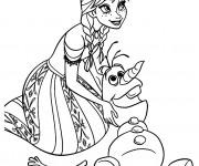 Coloriage et dessins gratuit Olaf et Anna à imprimer