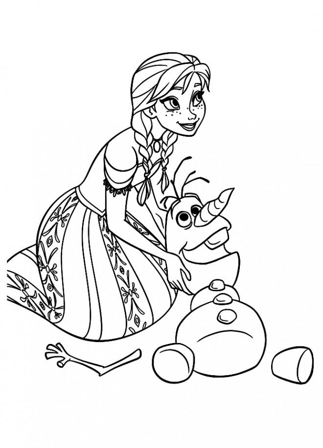 Coloriage et dessins gratuits Olaf et Anna à imprimer