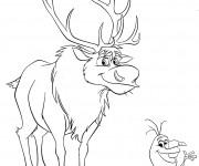 Coloriage et dessins gratuit Olaf et Sven à imprimer