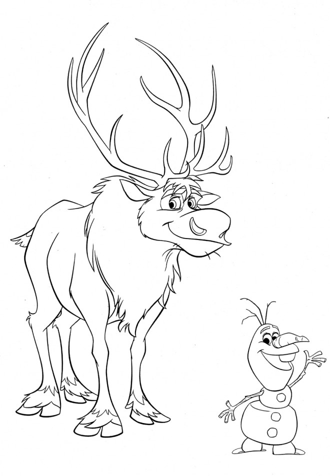 Coloriage et dessins gratuits Olaf et Sven à imprimer