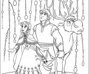 Coloriage et dessins gratuit Olaf, Sven et Anna à imprimer