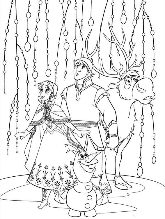 Coloriage et dessins gratuits Olaf, Sven et Anna à imprimer