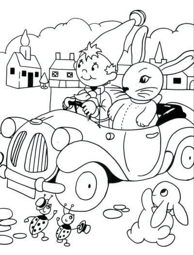 Coloriage et dessins gratuits à imprimer Oui Oui voiture à imprimer