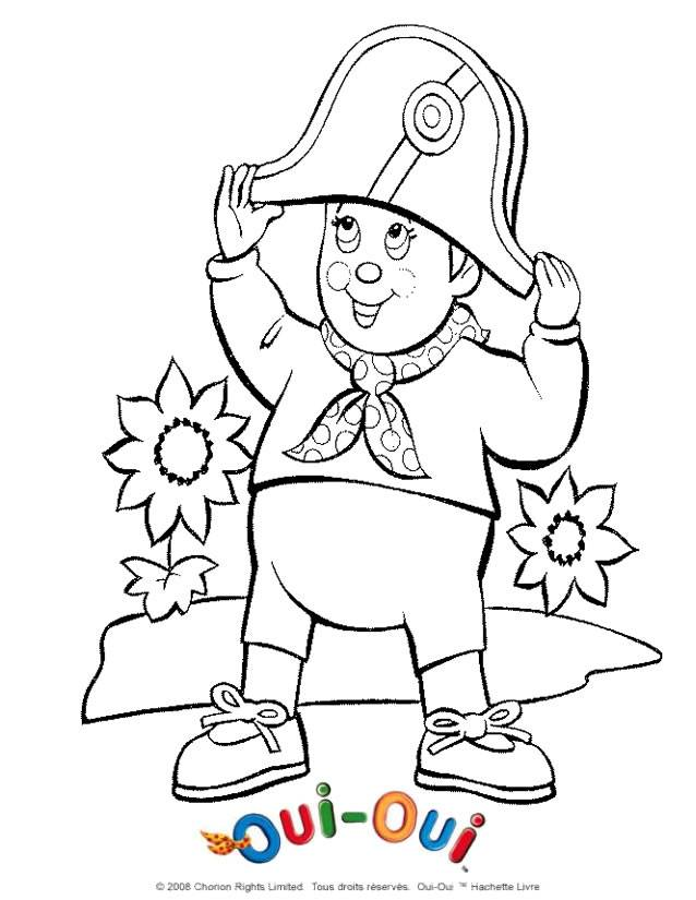 Coloriage et dessins gratuits Oui Oui avec son chapeau de marin à imprimer