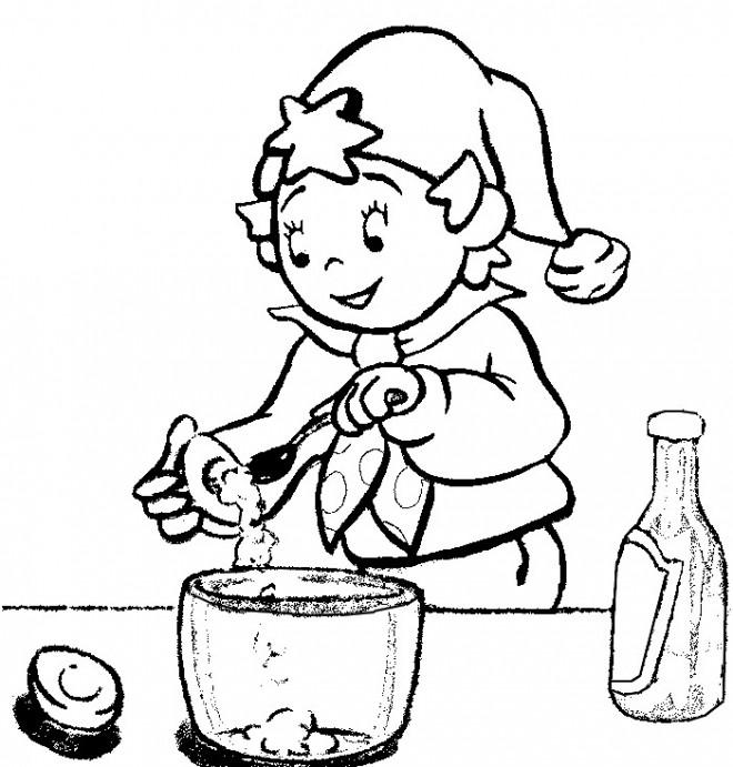 Coloriage et dessins gratuits Oui Oui entrain de cuisiner à imprimer