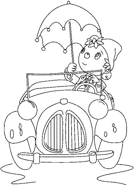 Coloriage oui oui et sa voiture dessin gratuit imprimer - Le dessin anime oui oui ...