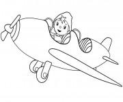 Coloriage et dessins gratuit Oui Oui pilote son avion à imprimer