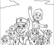 Coloriage et dessins gratuit La Pat Patrouille au grand complet à imprimer