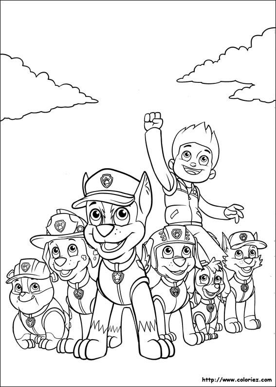 Coloriage et dessins gratuits La Pat Patrouille au grand complet à imprimer