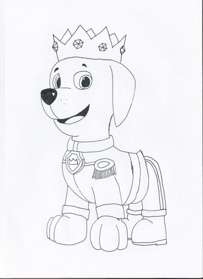 Coloriage et dessins gratuits Pat Patrouille et le roi à imprimer